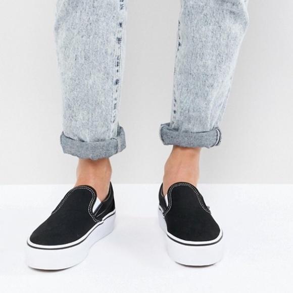 Vans Platform Slip-on Shoes Asher Black sz. 8.5